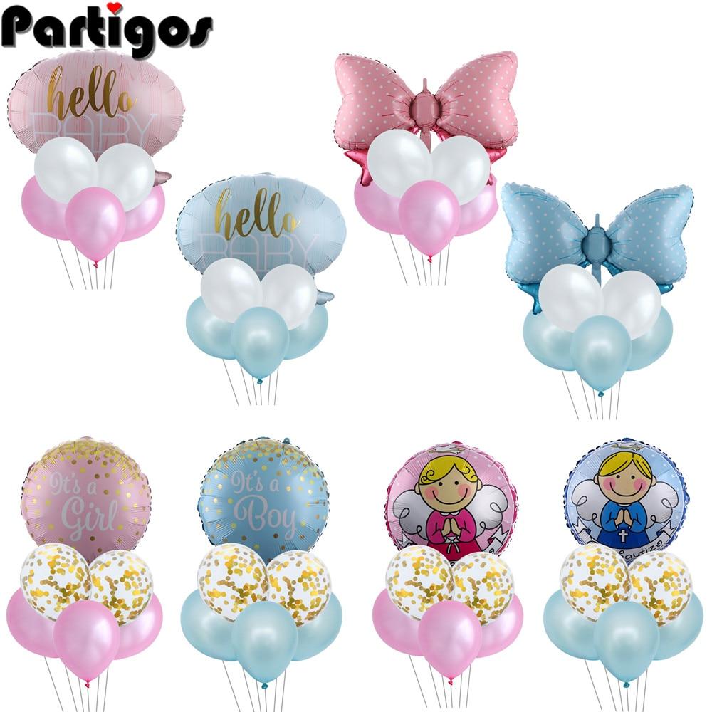 1 комплект, розовый, синий, Детский комплект с воздушными шарами, украшения для первого дня рождения, Детские баллоны для дня рождения, для ма...