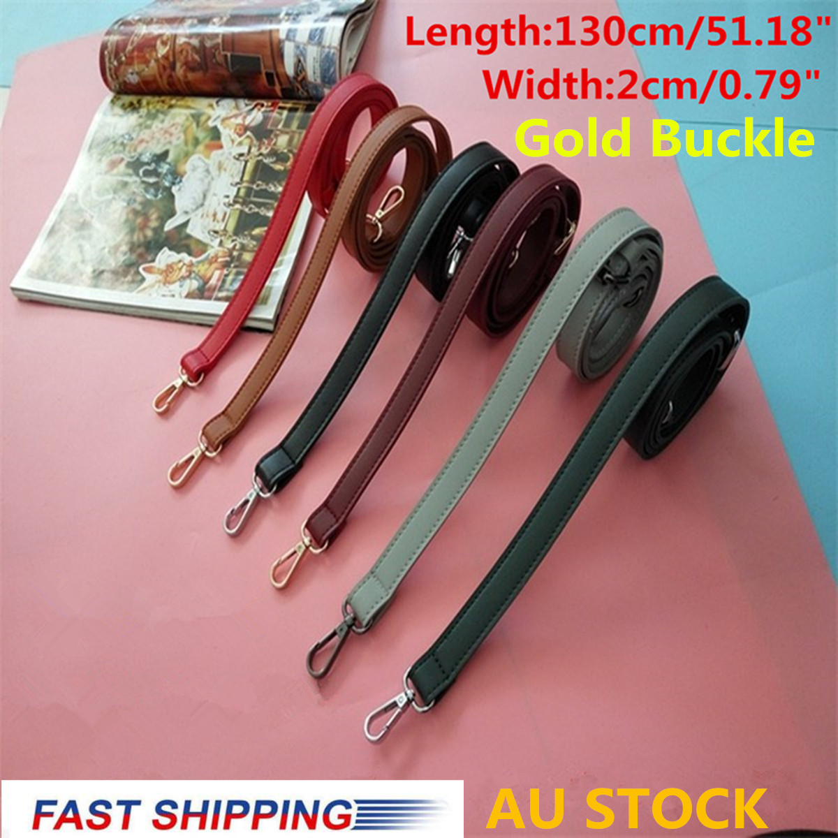 AEQUEEN 130CM Bag Straps PU Leather Shoulder Belts Replacement Handbag Strap Accessory Bags Parts Adjustable Belt Gold Buckle