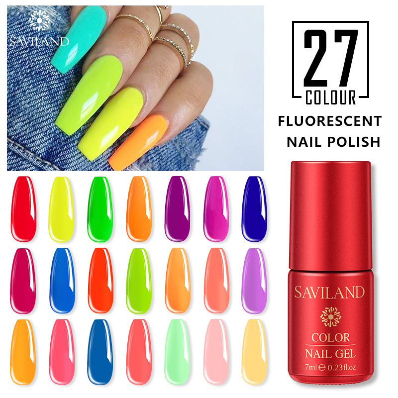 SAVILAND Neon Fluorescence Gel Nail Polish Summer Series Colorful Hybrid Nail Gel Varnish UV LED Soak Off Bubble Nail Art