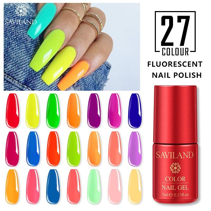 SAVILAND Neon Fluorescence Gel Nail Polish Summer Series Colorful Hybrid Nail Gel Varnish UV LED Soak Off Bubble Nail Art
