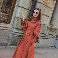 New Fashion 2020 Fall Autumn Women Solid Casual Simple Classic Maxi Trench Long