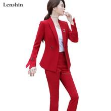 Lenshin Two Piece Set Office Lady Pant Suit Fashion Designs Women Business
