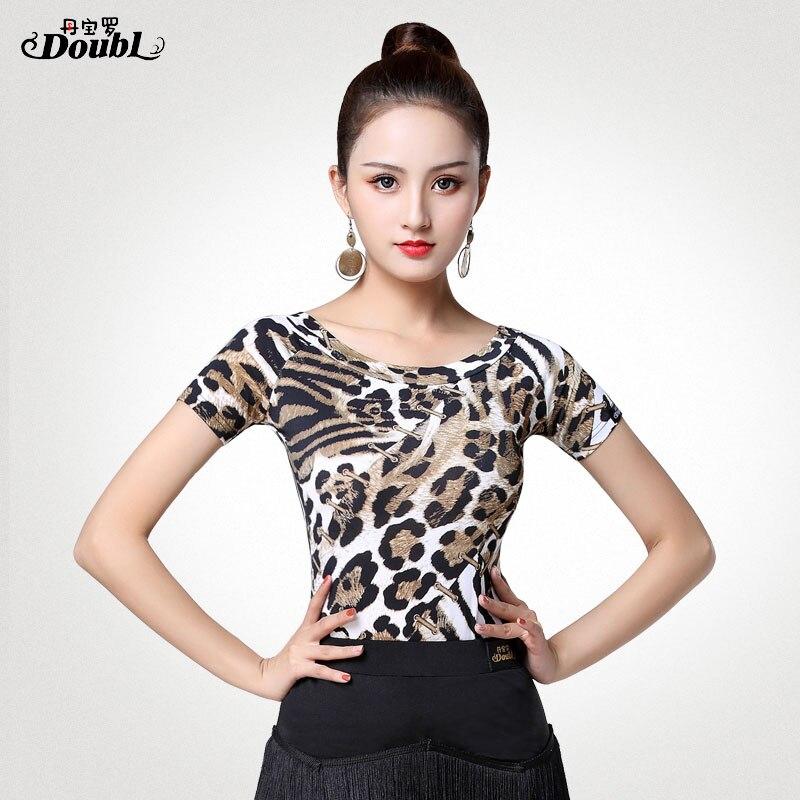 Doubl Leopard Print Dancewear Suit Latin Dance Tops For Women's Shirt Short Sleeve Ballroom Dancing Dress Lady's Female Girls