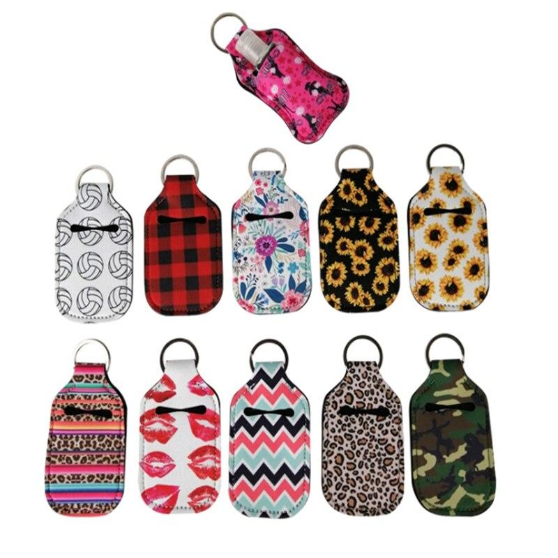 New 10pcs/lot Neoprene Hand Keyring 30ML Sanitizer Bottle Holder Keychain Bags Key Rings Hand Soap Bottle Holder
