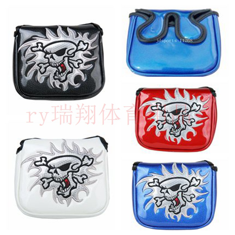 Cross Border Electricity Supplier Golf Club Sleeve Square Embroidered Skull Putter Sleeve Suction Iron Dual Handle Buckle Four C