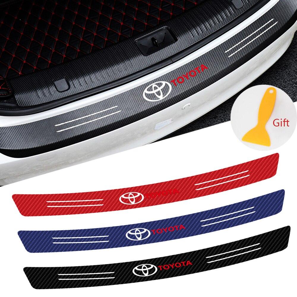 Car styling 3D In Fibra di Carbonio di Protezione Bagagliaio di Un'auto Sticker decalcomanie Auto Per Toyota Auris Corolla Avensis Verso Yaris Aygo Scion