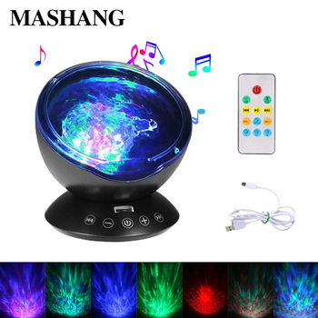 LED Ocean music Lamp Sky Ocean Wave Projector Lights USB TF Music Player Box Gifts for Kids Baby Bedroom Decoration Night light