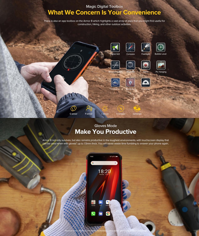 "Ulefone Armor 8 IP68 Rugged Smartphone 4+64GB Waterproof Mobile Phone 6.1"" Screen Android 10 Helio P60 Octa Core NFC 16MP Camera"