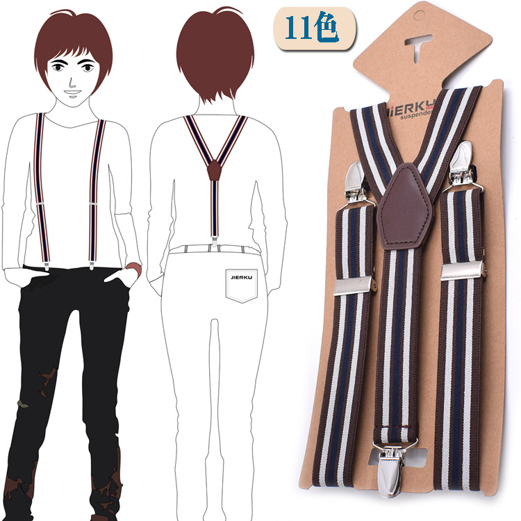 Cross Border Supply Of Goods Fashion For Men And Universal 3 Clip Suspender Strap 2.5 Cm Adult Suspenders 11 Color Selectable