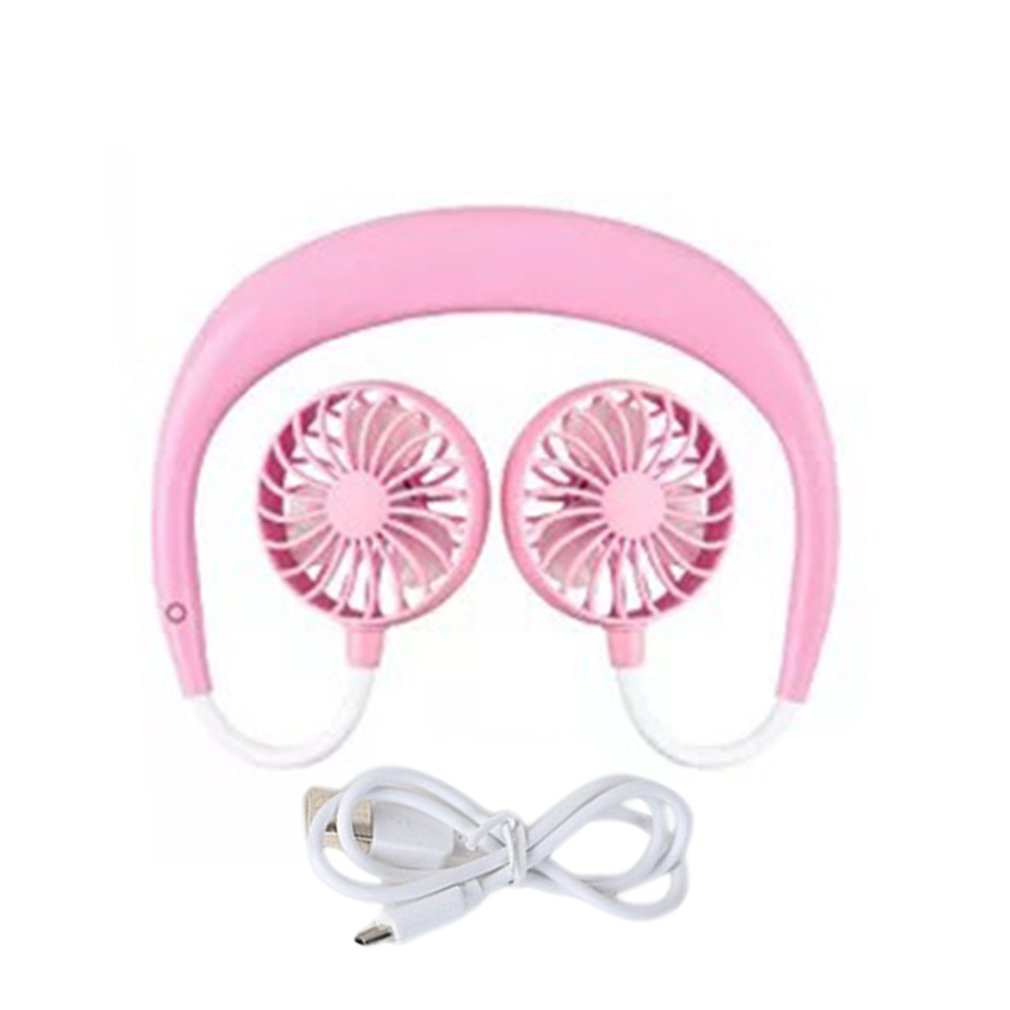 Mini Portable Cooling Fan Mini Handheld Fan Charging USB Portable Hanging Neck Desktop Office Small Fan Pure Color Color : Pink