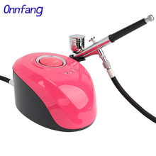 Onnfang Mini Dual Action Airbrush Compressor Kit Air-Brush paint Spray Gun Sandblaster for Art car model Tattoo Nail Tools Set(China)