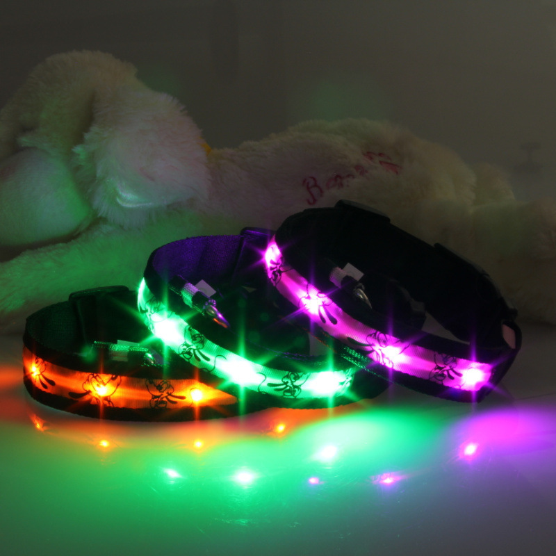 Black Edge Cartoon Pluto LED Luminous Pet Collar Dog Collar 7 Color USB Rechargeable Hair Day