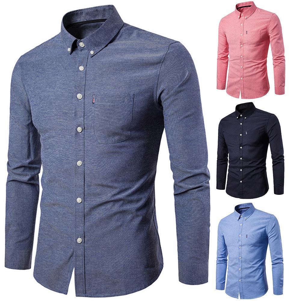 Spring Long Sleeve Formal Shirt For Men Solid Slim Basic Turn-down Collar Business Dress Shirts clothing men shirt
