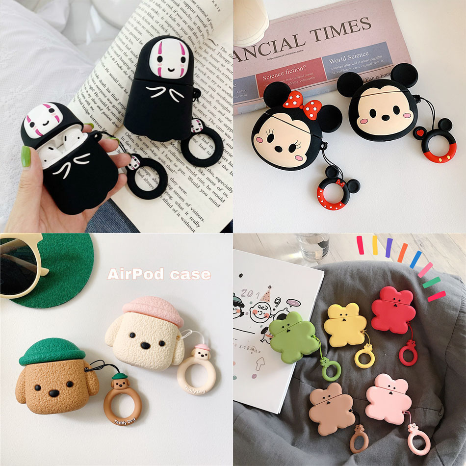 Soft Silicone For Airpods Case Cute Cartoon For Apple Air Pods Case For Headphone Adapter Wireless Bluetooth Headset Case Cover