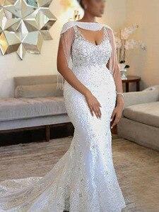 Vestido de novia elegante de sirena de alta calidad, decoración de lentejuelas de perlas, diseño de vestido de novia para boda, diseño de сватитетить