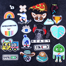 Pulaqi Hippie Cat Pizza Patch Cartoon Anime Gremlins Embroidered Iron On Patches For Clothing Appliques Stripes Stickers