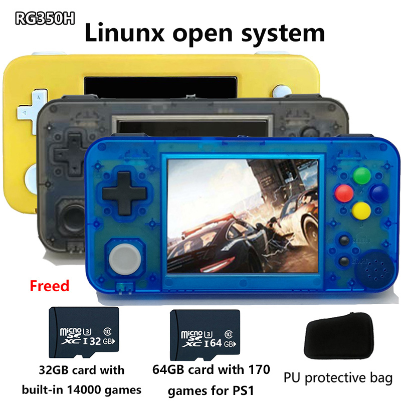 Whatsko GKD 350H - GameKiddy RG350 H IPS Retro Games Video Game Console for PS1 game 3.5inch Portable Games RG350H palygo system