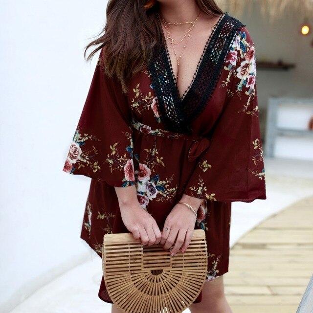 Women's Dress Female Spring Summer Casual Loose Fashion Deep V Neck Long Sleeve Floral Print Large Size Dresses 1