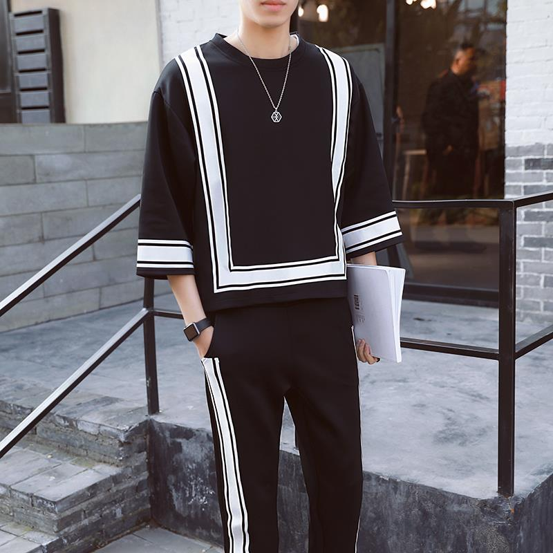 Casual Suit Men's Summer New Seven-sleeved Shirts & Pants Loose Korean Two-piece Suit Trendy Student Clothes Set Dropshipping