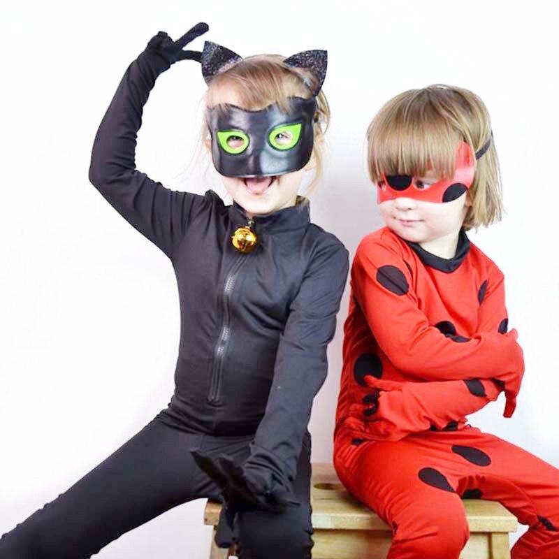 Kids Adult Fantasia Lady Cosplay Bug Costume Black Black Cat Full Set Halloween Costume Lady Spandex Marinette Bug Costume