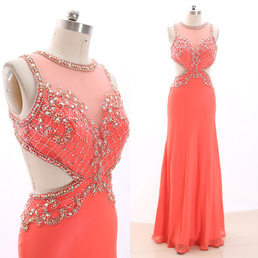 MACloth Coral A-Line O Neck Floor-Length Long Crystal Tulle   Prom     Dresses     Dress   L 266541 Clearance