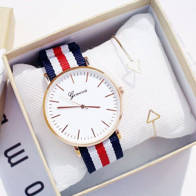 2pcs Set Sport Thin Wrist Canvas Quartz Dress Wrist Watches Fashion Men Women Unisex Geneva Platinum Nylon Fabric Watch For Gift