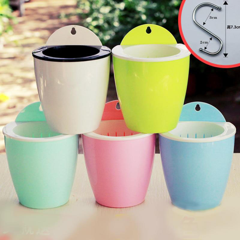 Self-watering Hydroponic Potted Flower Pot Creative Wall Hanging Plant Flower Holder Plate Auto Water-absorbing Home Decor 1 PC