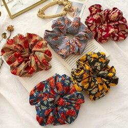 Romantische Rose Blume Drucken Scrunchies Frauen Haar Bindet Seil Große Blume Druck Haar Ring Ornament Elastische Haar Gummi Band Headwear