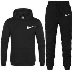 2021 New Brand Men Tracksuits Outwear Hoodies Sports suit Sets Male Wool sweater Men Set Clothes Pants plus size 2 pieces