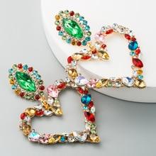 цена на Exaggerated Fashion Multicolor Crystal Heart Earrings Contracted Joker Long Women Vintage Drop Earrings JewelryBijoux