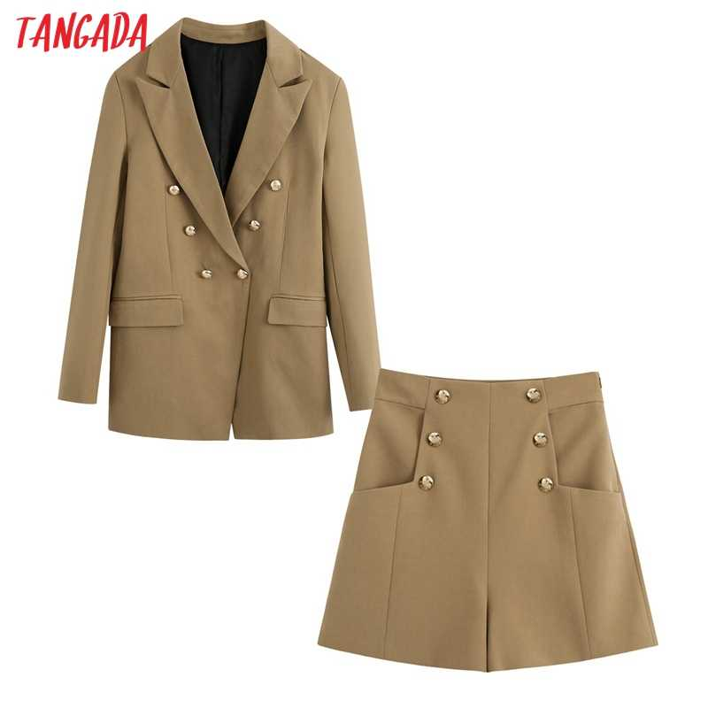 Tangada 2020 Vrouwen Set Trainingspak Sets Double Breasted Blazer Pak 2 Stuks Sets Blazer Shorts Suits BE673