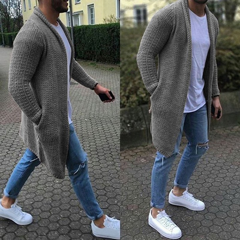 URSPORTTECH Solid Color Mens Cardigan Sweater Thick Loose Men Fashion Sweater Knitted Casual Blue Gray Winter Sweater Coat Male