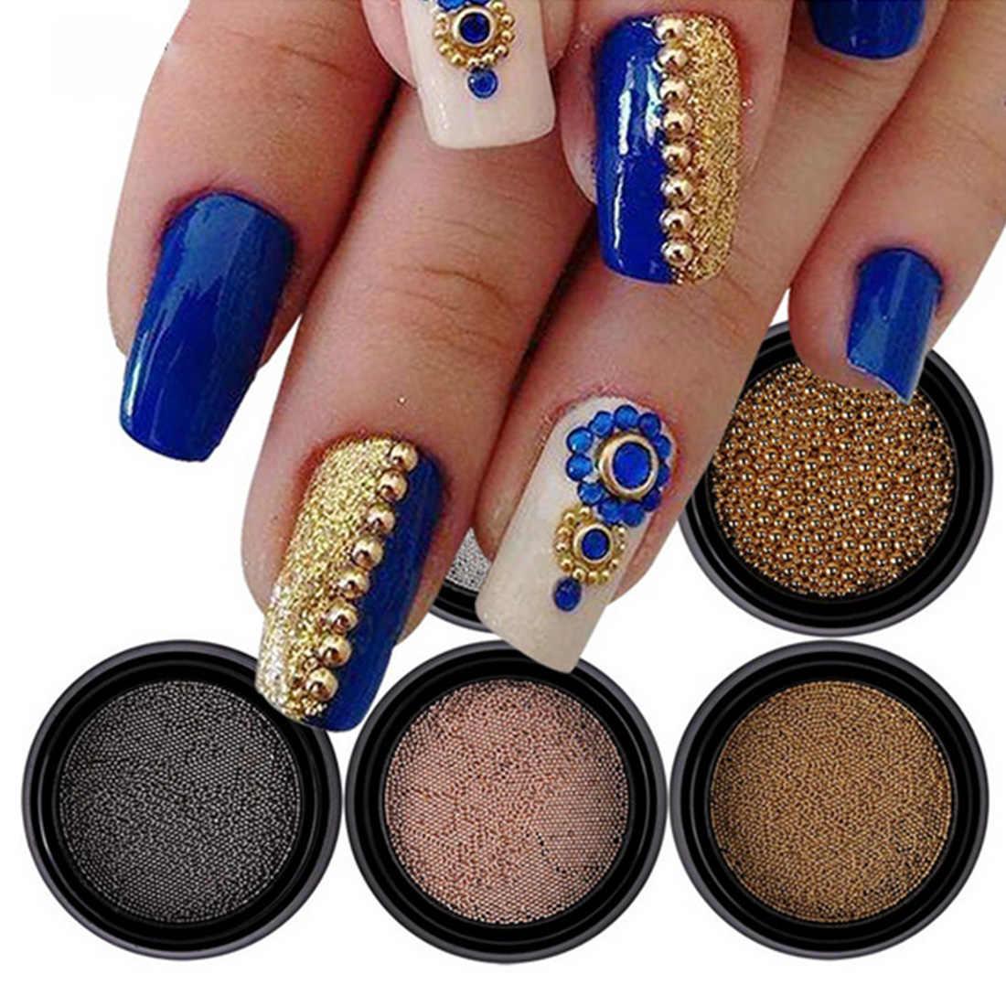 Warna Rose Gold Caviar DIY Alat Kotak Mini Kecil Stainless Steel Manik-manik Kuku Seni Dekorasi Gun Kuku Kancing Aksesoris