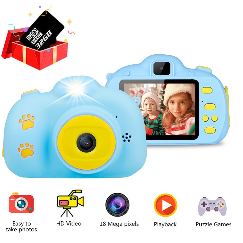 18MP HD Kids Digital Camera Multifunction Mini HD Camcorder Photo Video Camera With 32G Card 2.4 Inches Screen Toys For Kids