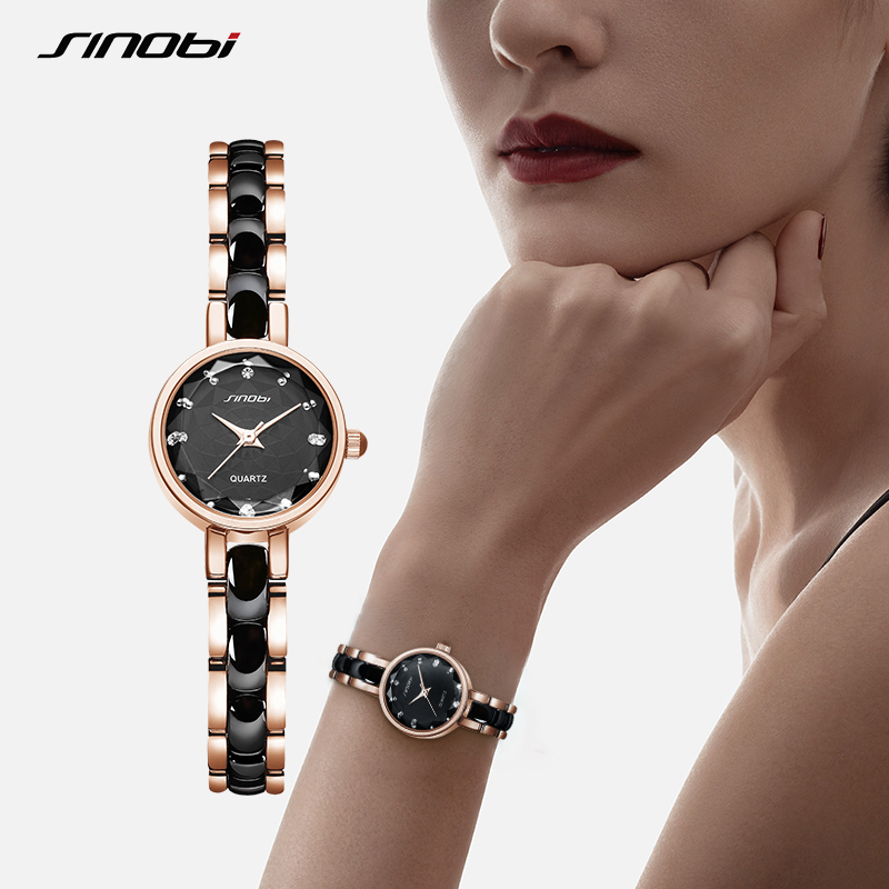 SINOBI Ladies Clock Luxury Rose Golden Women Watches Fashion Diamond Female Quartz Wristwatches Relogio Feminino Zegarek Damski