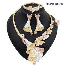 Yulaili Neue Luxus Zirkon Österreich Kristall Anhänger Halskette Ohrringe Dubai Schmuck Sets für Frauen Party Event Hochzeit Zubehör