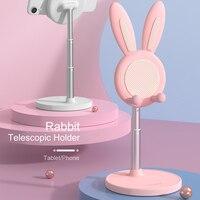 Soporte telescópico de escritorio para teléfono, soporte Universal ajustable para tableta, regalo de Pascua, conejo bonito