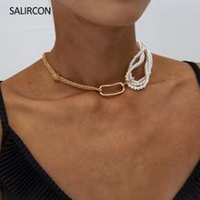 Salircon Unique Design Multi Layered Imitation Pearl Necklace Choker For Women Girl Statement Chunky Twist Necklace Jewelry Gift zoshi bohemian multi layer long necklace for women imitation pearl choker necklace collars statement necklace summer jewelry