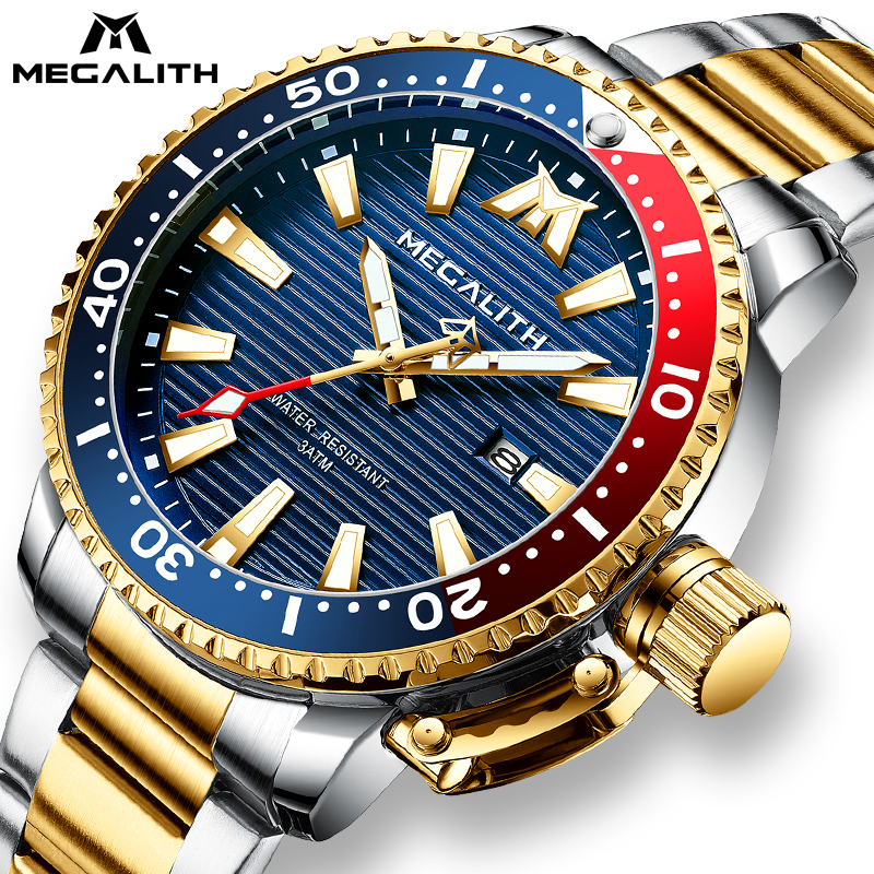 MEGALITH Gold Full Steel Watches Men Luminous Diving Sports Quartz Watch Men Sport Waterproof Military Wrist Watch With Box Pack