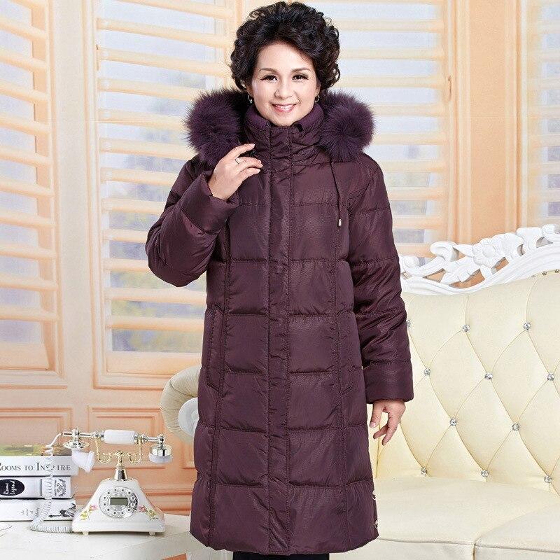 Female Down Jacket Plus Size Warm Winter Coat Jackets For Elderly Women Parkas Mujer 2019 Long Coats Abrigos Mujer KJ485