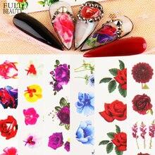 Çiçek kırmızı gül tırnak etiket suluboya çiçek su Transfer kaymak dövme manikür kış çivi sanat dekoru çıkartması CHSTZ930-969