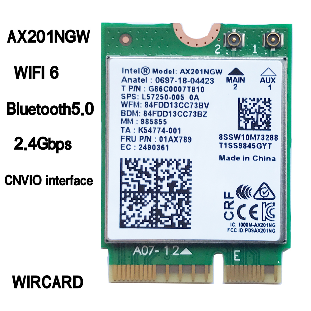 Wi-Fi 6 Intel AX201 Bluetooth 5.0 double bande 2.4G/5G sans fil NGFF CNVi carte Wifi AX201NGW 802.11ac/ax 2.4Gbps