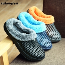 Cotton Slippers Shoes Thick-Soled Winter Casual Women Home with Warm Non-Slip-Bag Men's