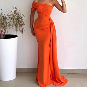 Orange Chiffon Mermaid Arabic Evening Dress Strapless Pleated Corset Long Prom Gowns Custom Made Formal Party Dresses