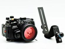 كاميرا ميكون تحت الماء مبيت لسوني A6000 (16 50 مللي متر) 40 متر/130قدم + مقبض غوص + 67 مللي متر فلتر غوص أحمر