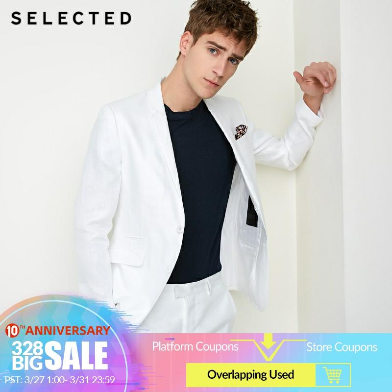 SELECTED Men's Pure Color Slim-Fit Blazer Male Linen Regular Business Clothes T | 418272504