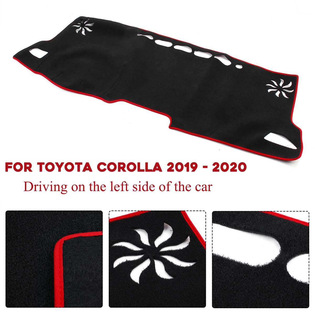 Arc Wrapped Tightly Black Dash Board Mat For Toyota Corolla 2019 - 2020 Dustproof Filtering Function Protect UV Rays Save Oil