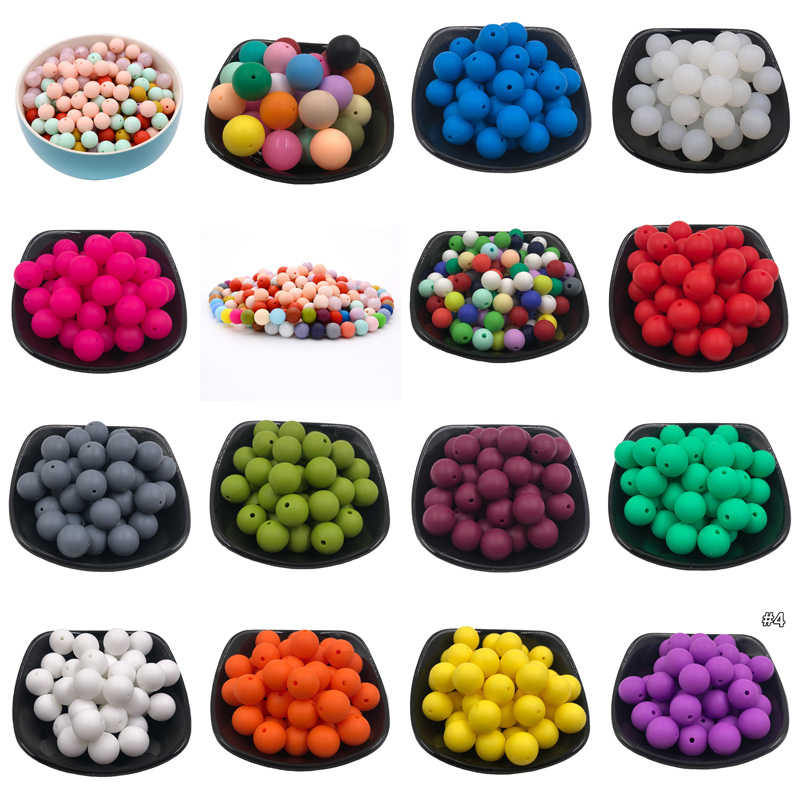 20Pcs DIY Silicone Round Beads 9mm Baby Teething Beads Food Grade Baby Teethers BPA Free For Baby Tooth Care Necklace Making Toy
