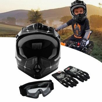 Motorcycle DOT Youth Kids Helmet Black Net Motocross Off-Road Helmet Goggles Gloves gifts Kids Cycling casco moto Sports Safety 2