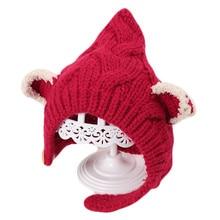 Новая модная вязаная шляпка для девочки с милыми кошачьими ушками, шапочка для ребенка, теплая осенне-зимняя вязаная детская шапка, хлопковые толстые шляпы для детей